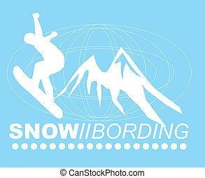 snow boarding and mountain vector art
