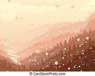 snow., bois, matin
