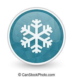 Snow brillant crystal design round blue web icon.
