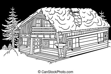 Snow Cabin - Black and White Cartoon Illustration, Vector