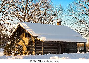 Snow Cabin In The Winter - Snow covered cabin in Canada.
