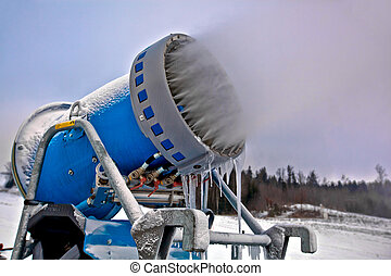 Snow cannon at work - Close up professional artificial snow...