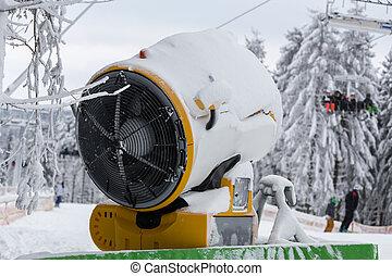 snow cannon in snowy ski resort