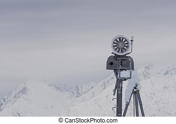 Snow cannon in the mountain ski resort - Snow cannon in the...