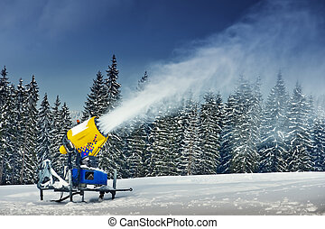 cannon - snow cannon in winter mountain