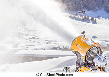 Snow Cannon Making Artificial Snow - Snow cannon spraying...