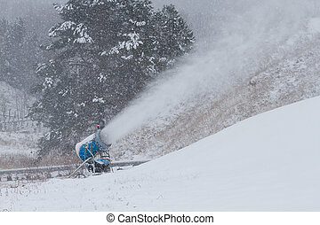 Snow cannon on the winter mountain
