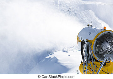 Snow cannon, snowmaker in action at ski resort