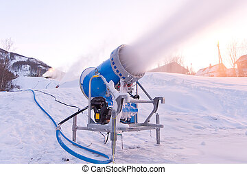 """Snowmaking is the production of snow by forcing water and pressurized air through a """"snow gun"""" or """"snow cannon"""", on ski slopes. Snowmaking is mainly used at ski resorts to supplement natural snow."""