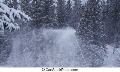 Snow cannon, winter resort