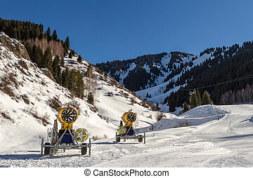 Snow cannons on the mountain
