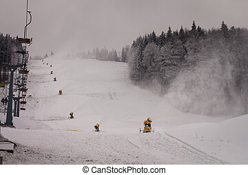 Snow cannons on the slope