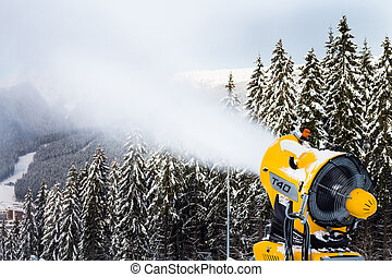Snow canon on the mountain