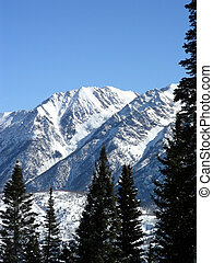 High elevation peaks covered with snow after a storm in the Rocky Mountains