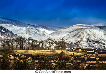 Snow capped hills in Clackmannanshire Central Scotland