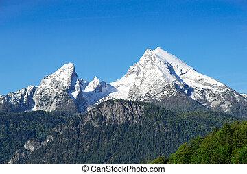 Snow-capped mountain peaks Watzmann Mount in national park...