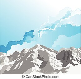 Snow capped mountain range scene with cloudy blue sky