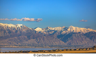 Snow capped mountain view in scenic Utah Valley