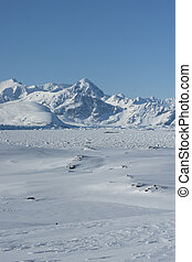 Snow-capped mountains against the snowy wilderness in Antarctica.
