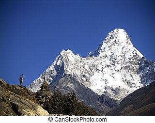 Snow capped peak Ama Dablam in the Himalaya, Nepal.