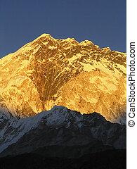 Snow capped peaks in the Himalaya, Nepal.