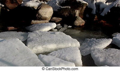 Snow caps floating on the water