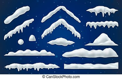 Snow caps and snowballs realistic set on blue background isolated vector illustration