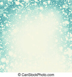 Snow Christmas Abstract Background - Festive lights, snowflakes and stars