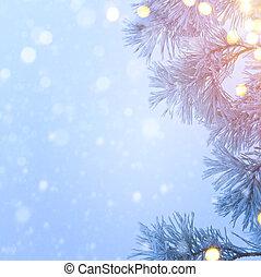 Snow Christmas tree and holidays light; Blue Christmas tree background; real winter snow