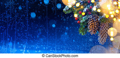 Snow Christmas tree and holidays light; Christmas tree background; real winter frost