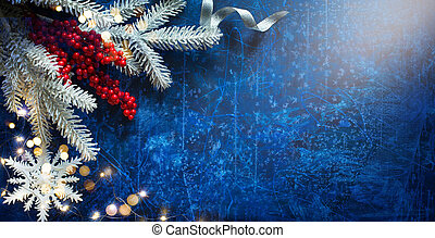 Snow Christmas Tree With Decoration Holiday Lights on Blue Background
