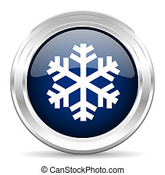 snow cirle glossy dark blue web icon on white background