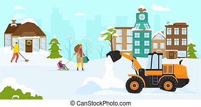 Snow clearance machine equipment, vector illustration. Transport cleaning street from snow, snow plow truck for removal work at urban road.