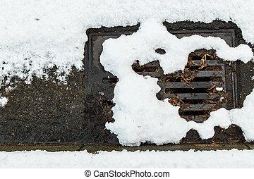 Snow clogged street drain