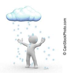 Snow cloud - 3d happy human look at snow cloud