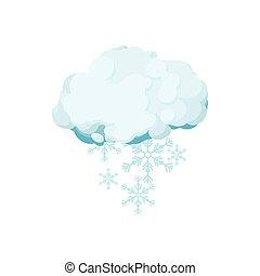 Snow cloud icon, cartoon style