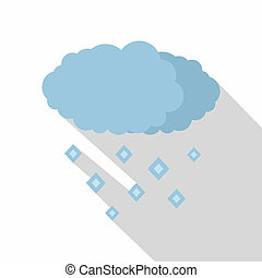 Snow cloud icon, flat style