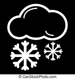 Snow cloud line icon, outline vector sign, linear style pictogram isolated on black.