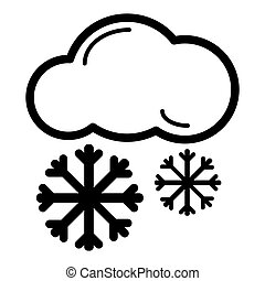 Snow cloud line icon, outline vector sign, linear style pictogram isolated on white.