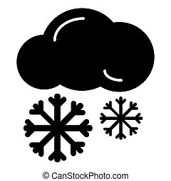 Snow cloud line icon, solid vector sign, linear style pictogram isolated on white.