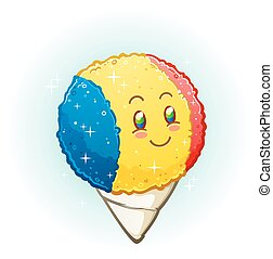 A snow cone cartoon character with a bright cheerful smile and rosy cheeks with blue, yellow and red flavoring