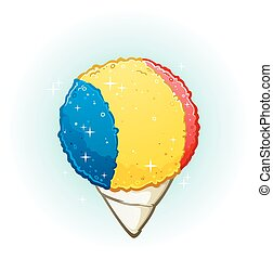 A snow cone cartoon flavored with raspberry, lemon and cherry