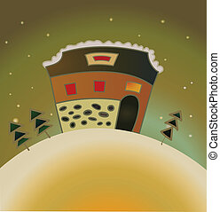 snow country house christmas card