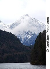 Snow Cover Peak with Lake