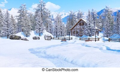 Snow covered alpine mountain house at winter day - Cozy snow...
