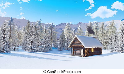 Snow covered alpine mountain house at winter day