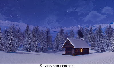 Snow covered alpine mountain house at winter night - Cozy...