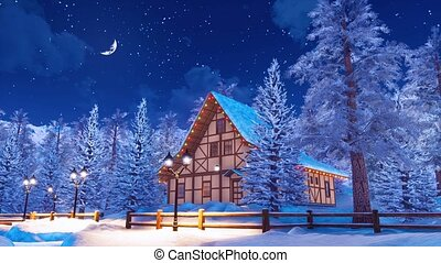 Snow covered alpine mountain house at winter night -...