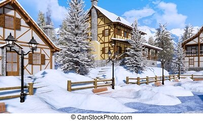 Snow covered alpine mountain village at winter day - Cozy...