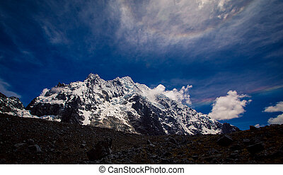 Snow covered Andes mountain in Peru